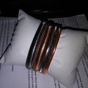 Rose Gold and Silver Bangles